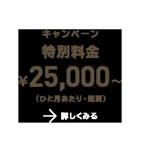 キャンペーン特別料金¥25,000〜(ひと月あたり・税別) 詳しく見る